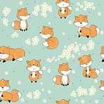 Rókák a réten tapétaminta (id: 21511) poszter