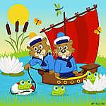 hód a hajón - vektoros illusztráció, eps (id: 4511) poszter