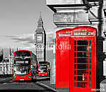 London with red buses against Big Ben in England, UK vászonkép, poszter vagy falikép