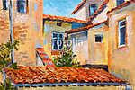 színes olajfestmény - házak teteje, európai út, művészet i (id: 9811) vászonkép