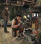 Akseli Gallen-Kallela: Vidéki élet (1887) (id: 10912) vászonkép