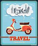 Vintage Travel robogó plakáttervezés (id: 11812) vászonkép