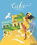 Kuba látványosság és látnivalók - utazási képeslap fogalom. Vect (id: 12712) poszter