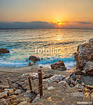 Piso Livadi beach on Paros island at sunrise (id: 16512) vászonkép óra