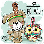 Cute Cartoon dog and owl (id: 19012)