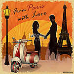 Romantic background. Happy young lovers  in  Paris. (id: 19212)