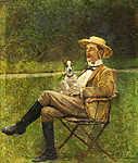 Mednyánszky László: Ülő férfi kutyával (tanulmány) (id: 20012) falikép keretezve