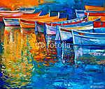 Csónakok a naplementében (id: 4212) többrészes vászonkép