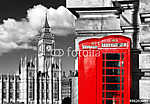 English red telephone booths with Big Ben in London, UK vászonkép, poszter vagy falikép