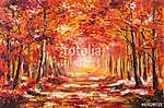 Olajfestmény táj - színes őszi erdő (id: 9812)