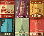 Vintage Travel plakáttervezés (id: 11813) vászonkép óra