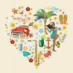 Kuba látványosság és látnivalók - utazási képeslap fogalom. Vect (id: 12713) poszter
