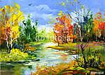Autumn landscape with the wood river (id: 16413) falikép keretezve