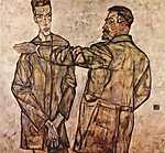 Egon Schiele: Portré Heinrich Bensch-ről és fiáról,  Ottóról (id: 2413) vászonkép óra