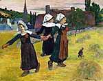 Paul Gauguin: Táncoló bretoni lányok - Színverzió 1. (id: 3913) falikép keretezve