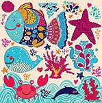 Cartoon vektoros illusztráció halakkal (id: 4713)