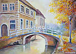 Olajfestmény vászonon - híd a folyón a régi Európában (id: 4913) vászonkép