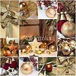 Karácsonyi motívumok aranyban és pirosban (id: 5013) bögre