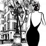 Fiatal elegáns nő fekete ruhában (id: 5113) falikép keretezve