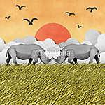 Rhino újrahasznosított papírhordozó háttere (id: 6213) vászonkép óra