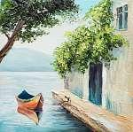 Olajfestmény, gondola Velencében, gyönyörű nyári nap Olaszország (id: 9813) vászonkép