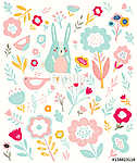 Pattern with little bunny and flowers (id: 12914) vászonkép