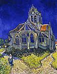 Csontváry Kosztka Tivadar: A templom Auvers sur Oise-ban (színverzió 1) (id: 19714) falikép keretezve