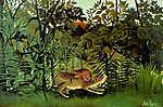 Henri Rousseau: Az éhes oroszlán elkapja az antilopot - színverzió 1. (id: 3814) falikép keretezve