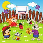 állatok kosárlabdázik - vektoros illusztráció, eps (id: 4514) poszter