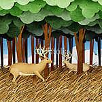 Újrahasznosított papírokból készült szarvasmarha (id: 6214) falikép keretezve