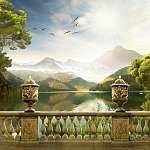 Hegyvidéki táj (id: 9314) falikép keretezve