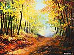 Vincent Van Gogh: olajfestmény táj - színes őszi erdő (id: 9814)