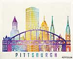 Pittsburgh landmarks watercolor poster (id: 15215) többrészes vászonkép