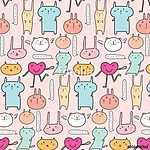 Cute Animal Pattern Background. Vector Illustration. (id: 15615) poszter