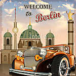 Welcome to Berlin retro poster. (id: 19215)