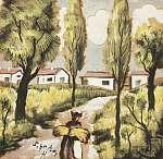 Scheiber Hugó: Egy falu látképe (id: 21415) vászonkép