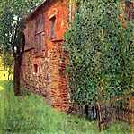 Gustav Klimt: Parasztház Chamber-ben, az Attersee-nél (id: 2415) falikép keretezve