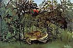 Henri Rousseau: Az éhes oroszlán elkapja az antilopot (id: 3815) falikép keretezve