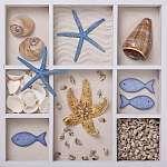 Seashells fehér dobozban (id: 5415) vászonkép óra