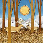 Újrahasznosított papírokból készült szarvasmarha (id: 6215) többrészes vászonkép
