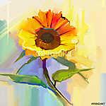 Az olajfestés egyetlen sárga napraforgó zöld levelekkel. Kézp (id: 9015) poszter