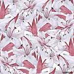 Pattern with lilies. Floral seamless watercolor background with  (id: 14116) tapéta