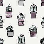 Hand Drawn Cactus Pattern (id: 15016) poszter