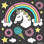 Vector composition with unicorn and rainbow on black background. Cartoon style cute character (id: 18816) vászonkép óra