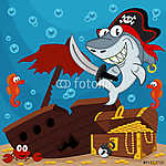 kalóz cápa - vektoros illusztráció (id: 4516) tapéta