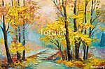 Olajfestmény táj - színes őszi erdő (id: 9816) falikép keretezve
