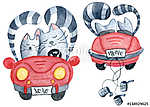 Watercolor set with love couple cats in just married red car. vászonkép, poszter vagy falikép