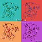 Portrait of dog Bulldog. Pop art vector pattern. Illustration for T-shirt graphics, fashion print, poster, textiles.. (id: 15617)