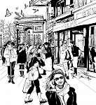 A párizsi Champs-Elysees sugárúton sétálók (id: 5117) poszter