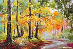 olajfestmény táj - színes őszi erdő (id: 9817) poszter